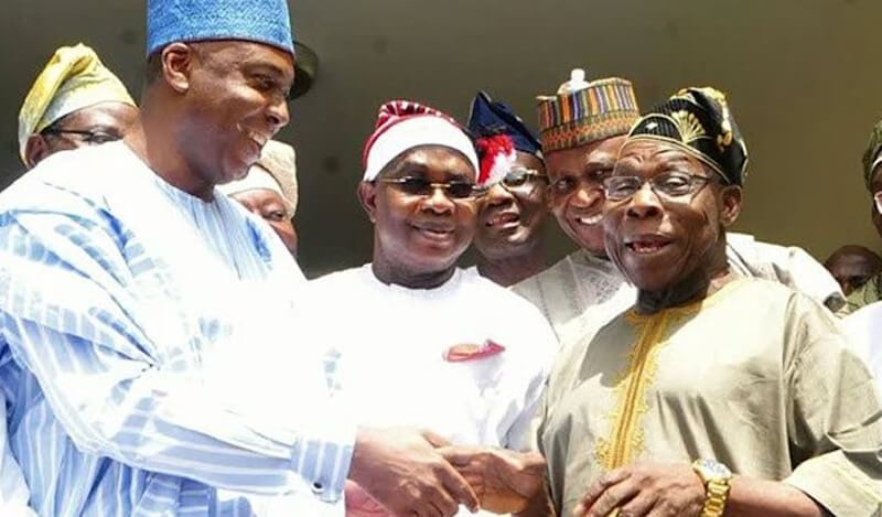 Senate President Bukola Saraki and former president, OLusegun Obasanjo. [PHoto credit: THISDAY]