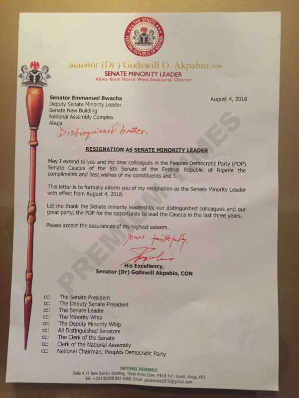 Senator Akpabio's resignation letter