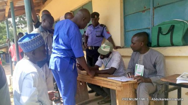 Maryam Kudu polling unit in Tafawa Balewa LGA . Voters being accredited amidst cases of non functional Card Reader