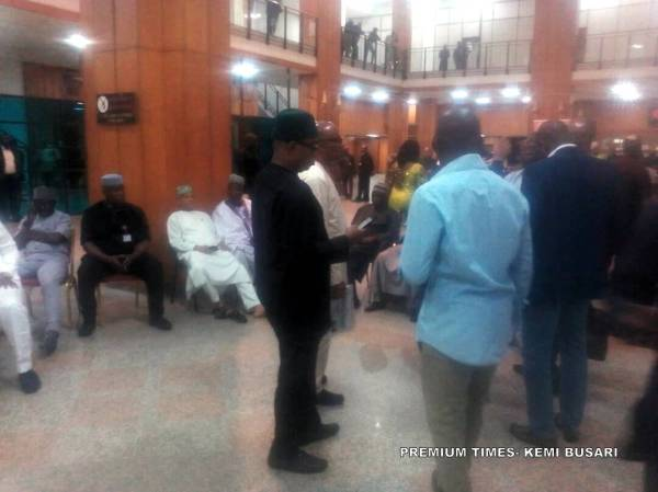 Lawmakers stranded at the National Assembly lobby during the NASS shutdown by DSS
