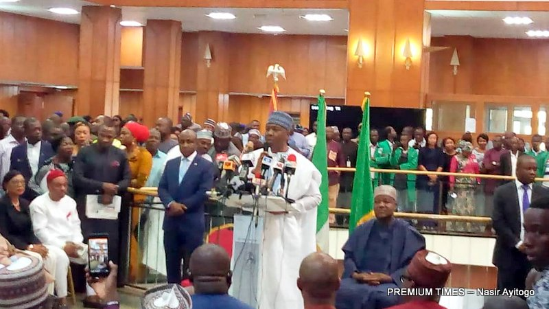 Senate President Bukola Saraki at the World Press Conference in the National Assembly