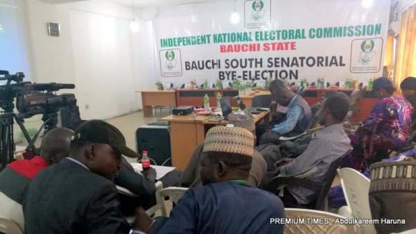 Bauchi South senatorial bye election: INEC collation centre getting set for tallying of results. 3 LGAs set to present their results, any moment soon.