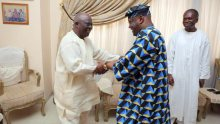PDP Presidential Aspirant, Atiku Abubakar with the leader of Afenifere, Ayo Adebanjo