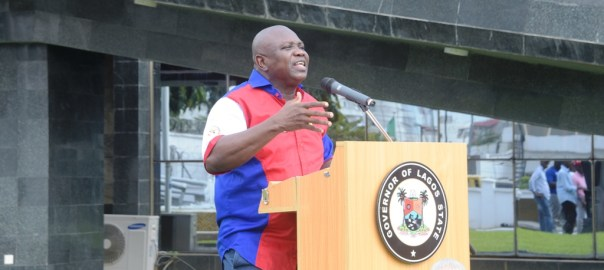 File photo of Lagos State governor, Akinwunmi Ambode addressing the press.