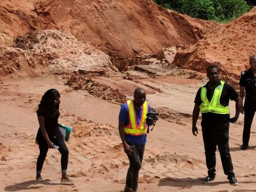 Permanent Secretary, Ministry of Environment and Sustainability, Mr. Bright Emeodume Esq. (middle); and other officials of the Ministry, during the enforcement of the shutdown order issued to illegal burrow pits in Benin City.