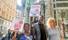 Protest in the UK calling for the release od the last Dapchi girl, Leah Sharibu. [PHOTO CREDIT: Official Twitter page of Reno Omokri]