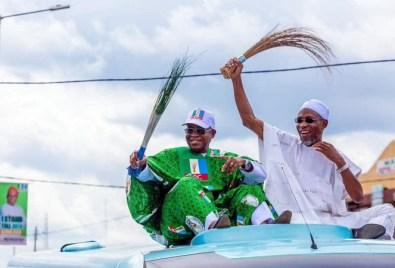 APC leaders kick off campaign in Osun state ahead of the gubernatorial elections. [PHOTO CREDIT: Official twitter handle of Orji Uzor Kalu]
