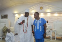 The Ooni of Ife and Omoyele Sowore, presidential aspirant at the Ooni's palace
