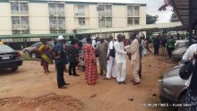 Striking workers of NAICOM at the Federal Ministry of Trade and Investment