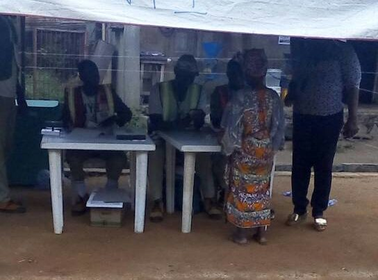 Voting commence in PU17 Ward 5 in Oshogbo. Aged people given preference.