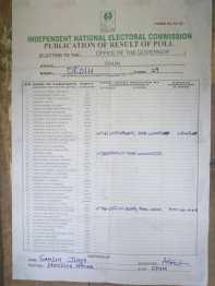 form EC60E from polling unit 3 Ward 9 Orolu LGA. APC 41, PDP 64