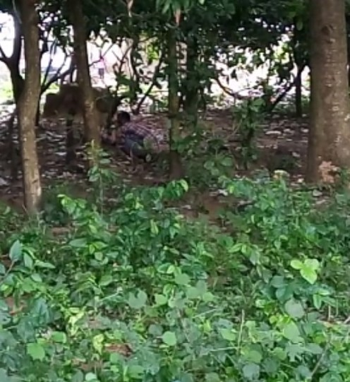 Man defecating in an open area in Abuja