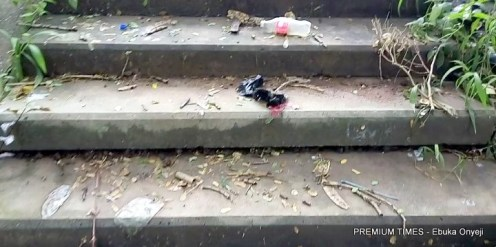 lonely stairs leading to other routes inside Wuse market where people pass bodily waste.