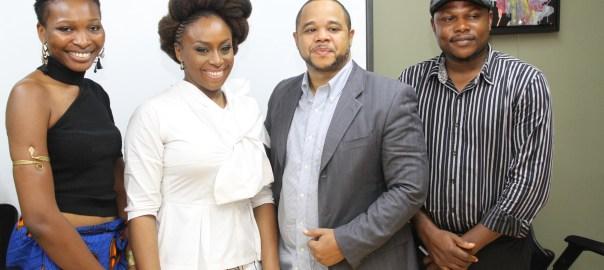 L-R Sheila Chukwulozie, Chimamanda Adichie, Sam Onyemelukwe and Mazi Nwonwu