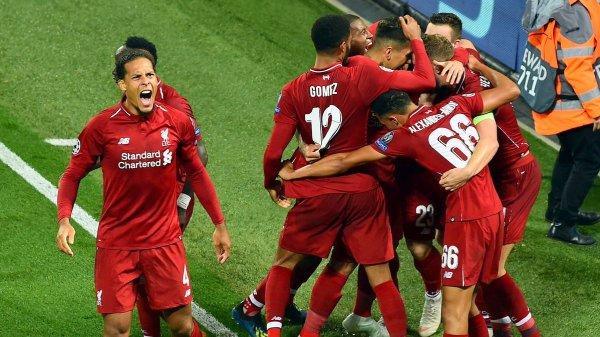Liverpool celebrates after scoring