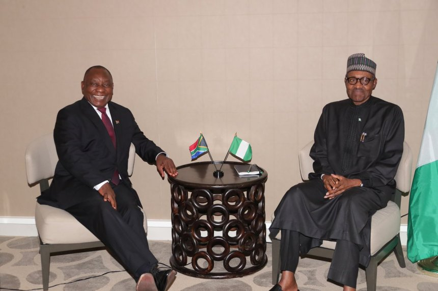 President Cyril Ramaphosa of South Africa and President Muhammadu Buhari of Nigeria