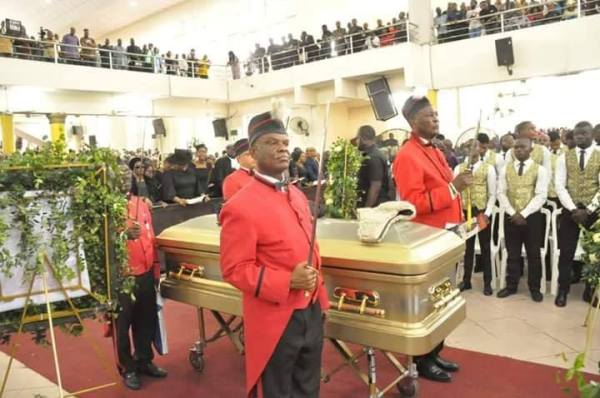 The casket containing the remains of late attorney-general of Rivers state, Emmanuel Aguma at the Saint Paul's Anglican Cathedral, Port Harcourt