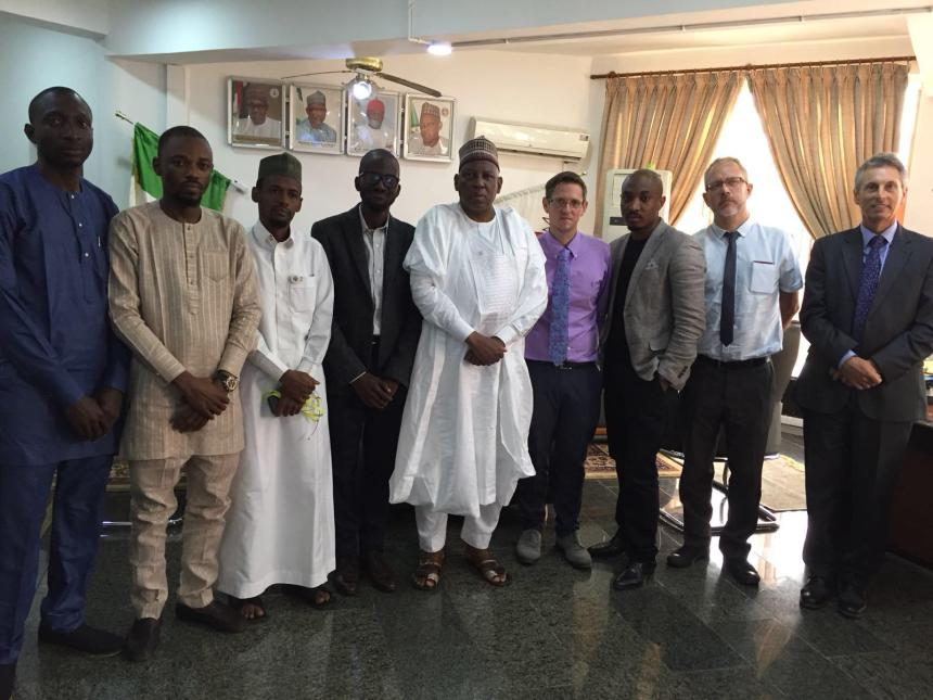 Dr Hamid Bobboyi, Executive Secretary, Universal Basic Education Commission with iBass Staff and Delegates from the University of Greenwich