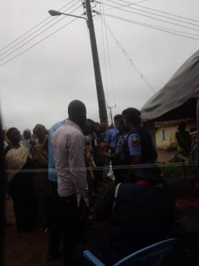 At 8:04am PU 02/ Ward 1, Awo Court Hall/ Egbedore LGA. The Party agents arrived and they are been checked