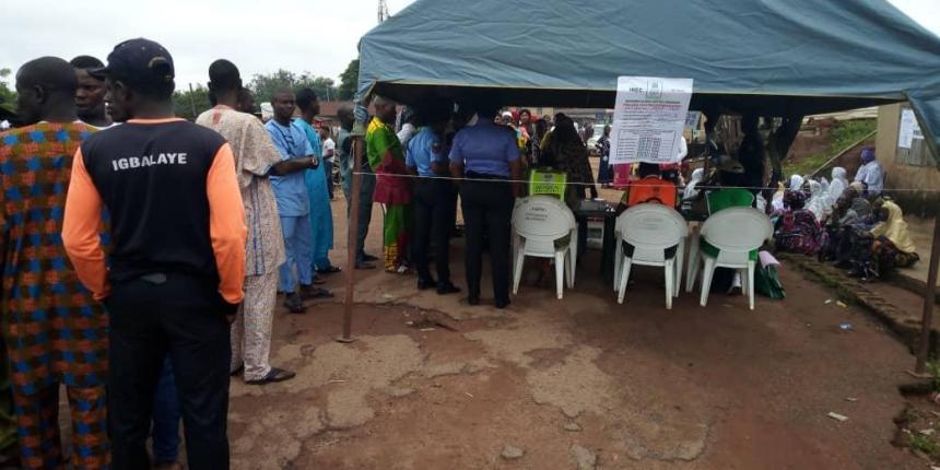 8:49am Accreditation and voting in progress at PU 002, Ward 6 Ira-Gberi, Egbedore LGA, Osun West III. No issue recorded so far.