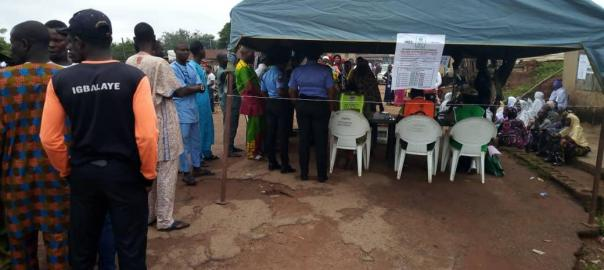 8:49am Accreditation and voting in progress at PU 002, Ward 6 Ira-Gberi, Egbedore LGA, Osun West III. No issue recorded so far.