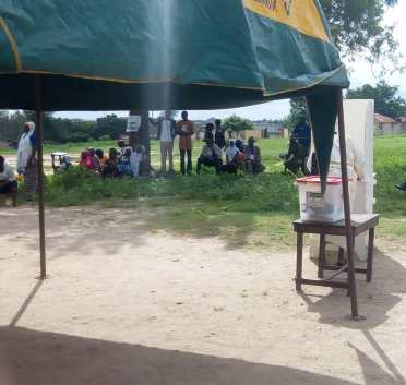 Voting is going on peacefully and Party Agents can be seen far away from the Voting Cubicle and Ballot box at Ifon Orolu Local Government, Olufon Orolu D (Ward 4), RCM Primary School (Polling Unit 2) as at 9:40AM