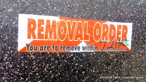 Removal notice pasted round the estate