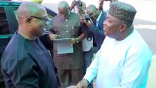 Governor Ifeanyi Ugwuanyi of Enugu State (right) welcoming the Vice Presidential Candidate of the Peoples Democratic Party (PDP), Mr. Peter Obi, when the latter paid him a courtesy visit at the Government House, Enugu, yesterday.
