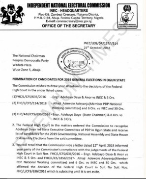 Letter showing INEC recognising PDP candidates from Kashamu's faction