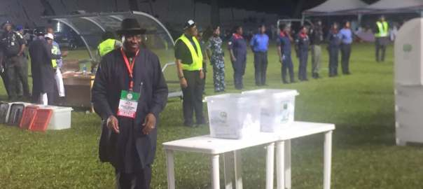 Former President Goodluck Jonathan after casting his vote