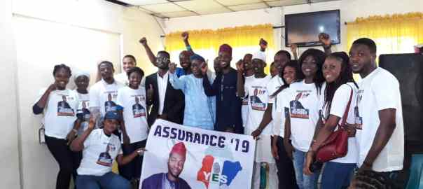 Party members showing their support for the two candidates representing the party at the House of Representatives.