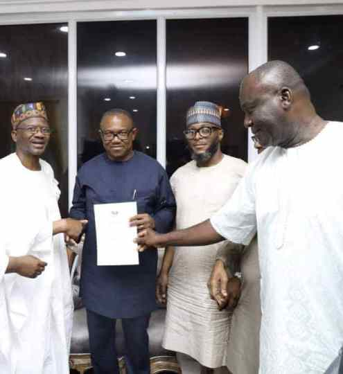 Peter Obi collecting the form to be running mate for Atiku Abubakar in the 2019 election