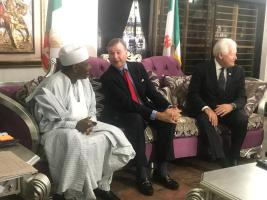 Kebbi State Governor, Abubakar Bagudu, US ambassador to Nigeria, Stuart Symington and the Chairman of the US African Development Foundation, Jack Leslie during the signing of an MOU in Abuja on Thursday.