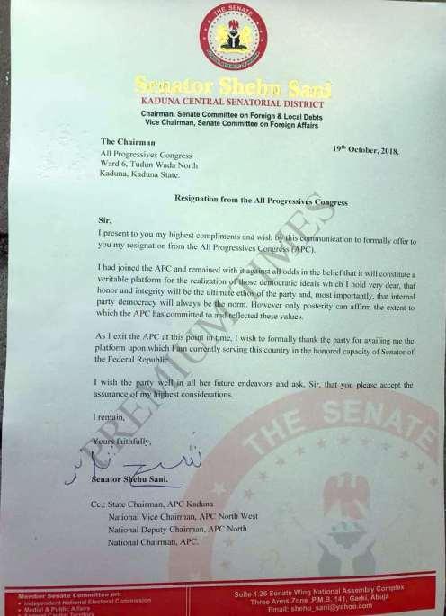 Copy of Senator Shehu Sani's letter to the APC