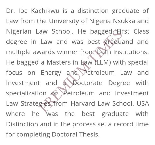 Screen shot of Kachikwu's academic performance on fed Min Of petroleum ministry website.