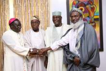 Rev Matthew Kukah, Former President Olusegun Obasanjo, Alhaji Atiku Abubakar, Sheikh Ahmad Gumi during the meeting at Obasanjo's residence in Abeokuta