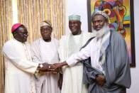 Rev Matthew Kukah, Former President Olusegun Obasanjo, Alhaji Atiku Abubakar, Sheikh Ahmad Gumi during the meeting at Obasanjo's residence in Abeokuta