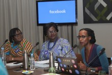 L-R: Communications Manager, Sub Sahara Africa, Kezia Anim-Addo; Public Lead, Anglophone West Africa, Akua Gyekye, and Strategic Media Partnerships Manager, Sub Sahara Africa, Jocelyne Muhutu-Rémy, all of Facebook at the launch of its Fact-Checking Programme in Nigeria with Africa Check and AFP on Tuesday October 16 in Ikeja, Lagos