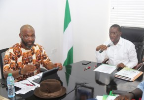 Delta State Governor, Senator Ifeanyi Okowa (right) and Hon. Osita Chidoka, during a Closed door meeting of PDP Convention Planning Committee, in Port Harcourt. PIX ; JIBUNOR SAMUEL.