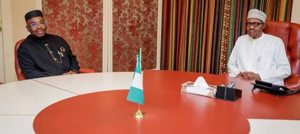 Photo of Governor Udom Emmanuel of Akwa Ibom State meeting with President Muhammadu Buhari at the presidential villa on Thursday