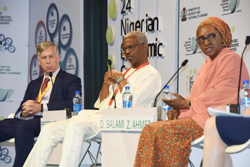 "From left: Director of African Studies, Johns Hopkins University, Prof. Peter Lewis; a member of the Nigerian Economic Summit Group, Dr Doyin Salami; and Minister of Finance, Zainab Ahmed, during a session on ""Ending the Vicious Cycle"", at the 24th Nigerian Economic Summit in Abuja on Tuesday (23/10/18). 05189/23/10/2018/Jones Bamidele/NAN"