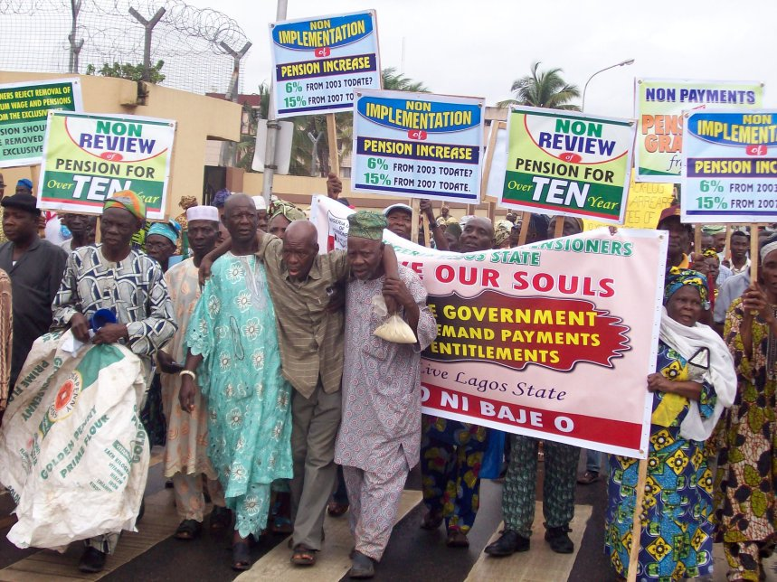 FILE PHOTO: Olders Pensions poorlt treated in Nigeria... Pensioners protesting poor treatment
