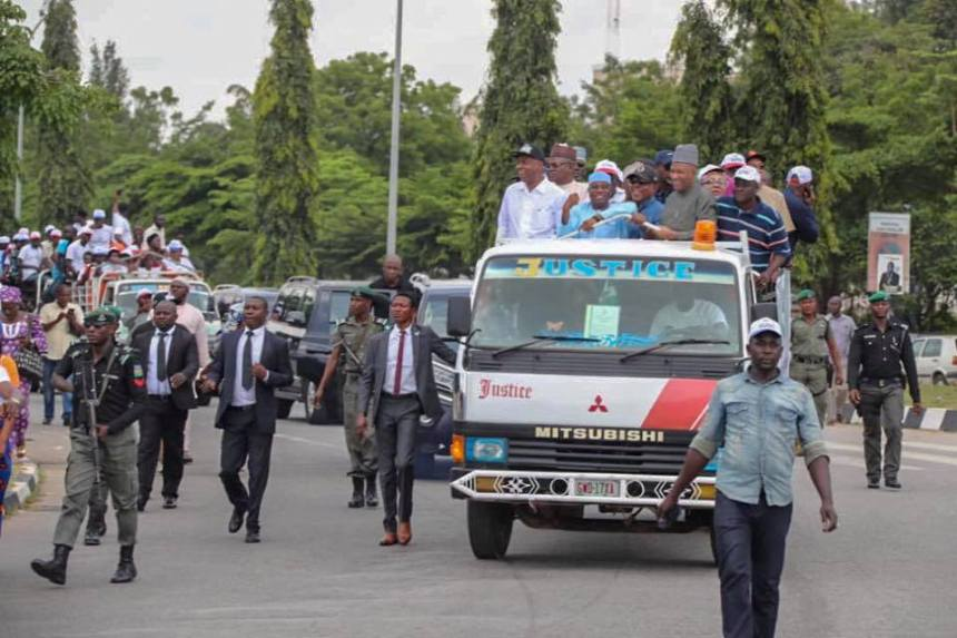 Senate President, Bukola Saraki, and other PDP leaders led a protest to INEC headquarters, Abuja
