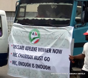 PDP protest at INEC hq