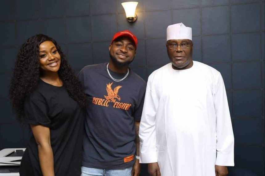 Popular singer, Davido, and his girlfriend, Chioma Rowland, on Saturday met with the People's Democratic Party presidential candidate, Atiku Abubakar
