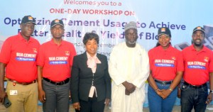 L - R: Rasheed Ogunade, Terminal Manager, BUA Ports and Terminals; Nasiru Ladan, General Manager Sales and Marketing, BUA Cement; Iwunze Amaka, Area Manager/Deputy Director ITF Port Harcourt and Abubakar Babaji, Regional Coordinator South-South Standard Organisation of Nigeria (SON); Abiola Akarolo, Regional Manager, BUA Cement and Adeyinka Adesola, Quality Control Manager BUA Cement at the 3rd BUA Cement Stakeholders meeting held in Port Harcourt on Monday.