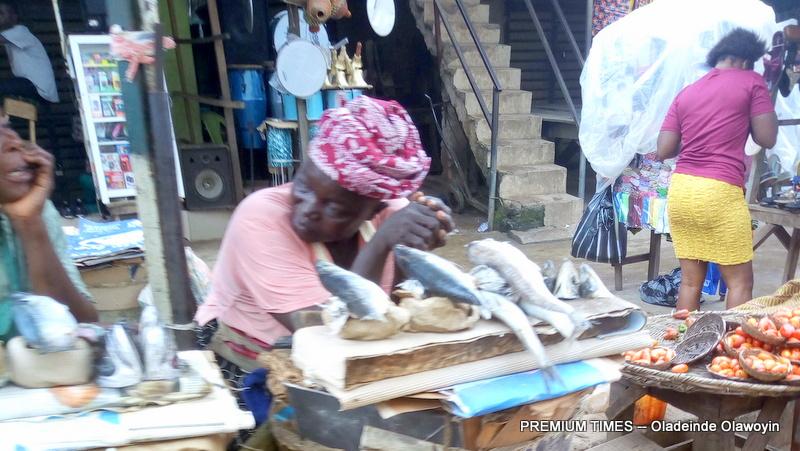 Fish sellers in Sango, Ogun State