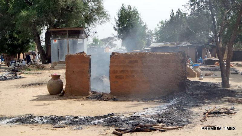 Village raided by Boko Haram insurgents.