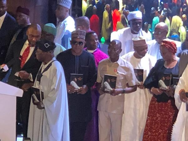 Image result for What Oshiomhole did to Secondus, Obasanjo at Jonathan's book launch