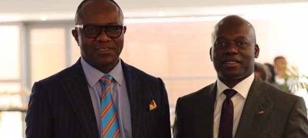 Minister of state for petroleum, Emmanuel Kachikwu with Oando CEO Wale Tinubu at the forum